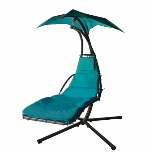 Backyard Expressions Steel Hanging Lounger Chair - Blue Perspective: front