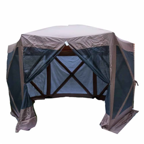 Backyard Expressions Luxury Hub Style 12 Ft. W x 12 Ft. D Metal Pop-Up Gazebo Perspective: front