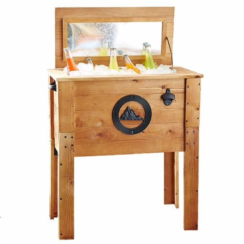Backyard Expressions 45 Qt. Decorative Outdoor Rustic Mountain Cooler Perspective: front