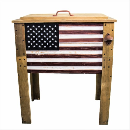 Backyard Expressions 57 Qt. Decorative Outdoor American Flag Cooler Perspective: front