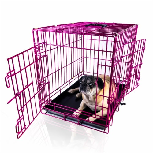 Backyard Expressions Pink 24 Inch Foldable Double Door Metal Pet Crate Perspective: front