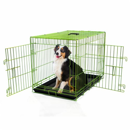 Backyard Expressions Double Door Wire Dog Kennel Pet Crate Perspective: front