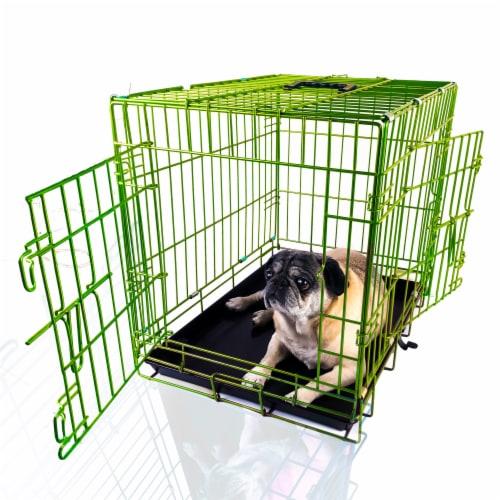 Backyard Expressions Green 24 Inch Folding 2 Door Metal Pet Crate Perspective: front