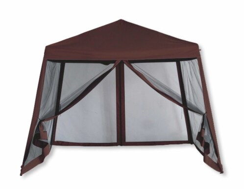 Backyard Expressions Luxury 10 Ft. W x 10 Ft. D Metal Pop-Up Gazebo Perspective: front