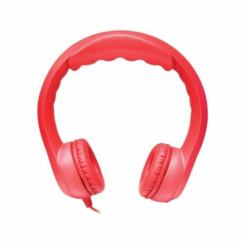 Flex-Phones™ Indestructible Foam Headphones, Red Perspective: front