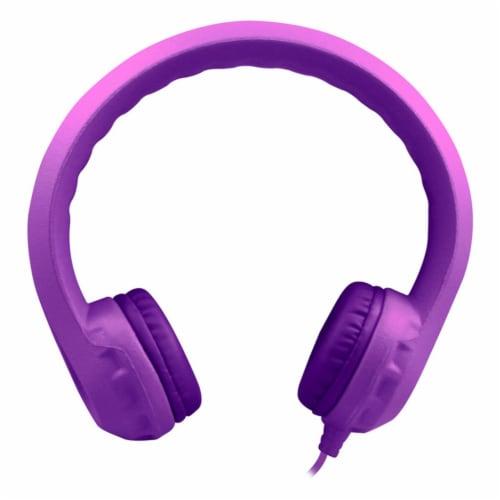 Flex-Phones™ Indestructible Foam Headphones, Purple Perspective: front