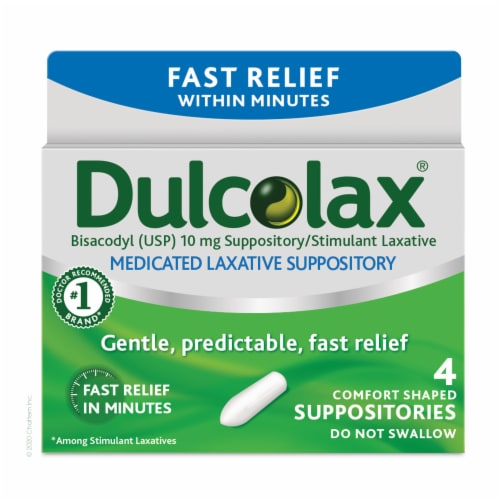 Dulcolax Fast Relief Medicated Laxative Comfort Shaped Suppositories 10mg Perspective: front