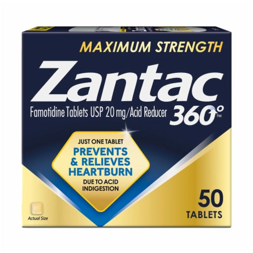 Zantac 360 Maximum Strength Famotidine Acid Reducer Tablets 20mg Perspective: front