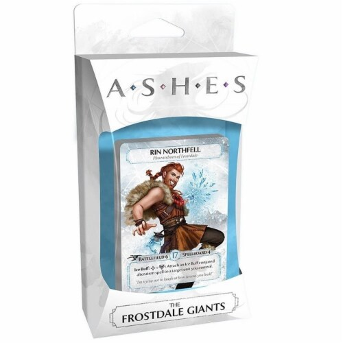 Ashes Frostdale Giants Board Game Expansion Deck Phoenixborn Rin Northfell Plaid Hat Games Perspective: front