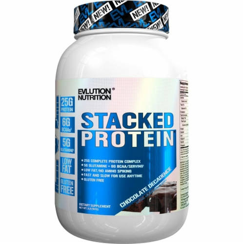 Evlution Nutrition  Stacked Protein Powder Drink Mix   Chocolate Decadense Perspective: front
