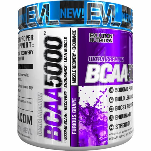 Evlution Nutrition  EVL BCAA5000   Furious Grape Perspective: front