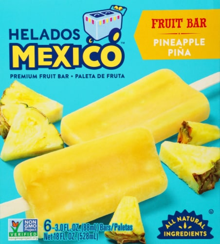 Helados Mexico Pina Pineapple Ice Cream Bars 6 Count Perspective: front