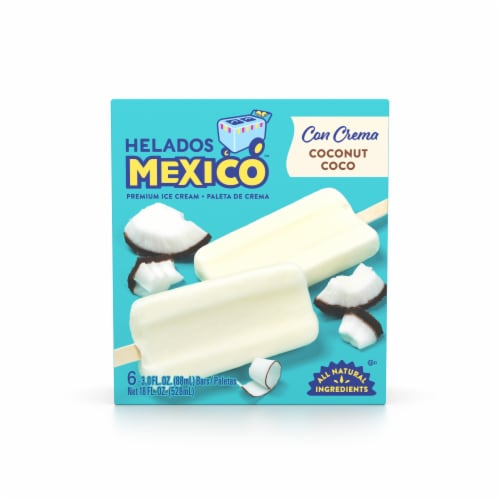 Helados Mexico Coconut Ice Cream Bars 6 Count Perspective: front