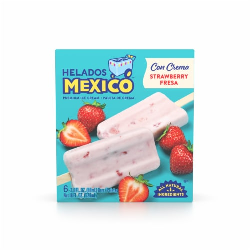 Helados Mexico Strawberry Ice Cream Bars 6 Count Perspective: front