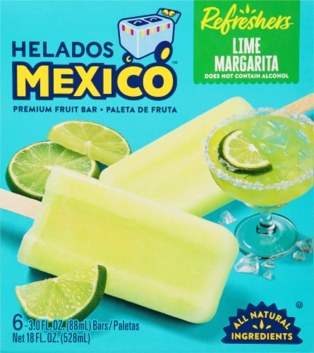 Helados Mexico Refreshers Lime Margarita Paletas Fruit Bars Perspective: front