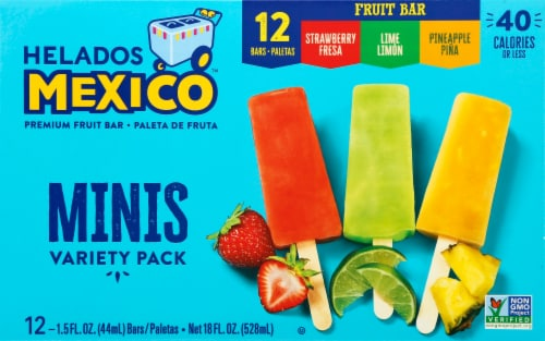 Helados Mexico Variety Mini Fruit Bars 12 Count Perspective: front