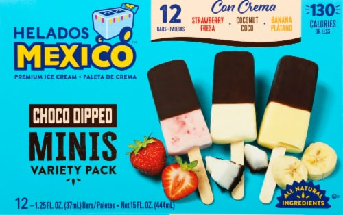 Helados Mexico Mini Chocolate Dipped Premium Ice Cream Bars Variety Pack 12 Count Perspective: front