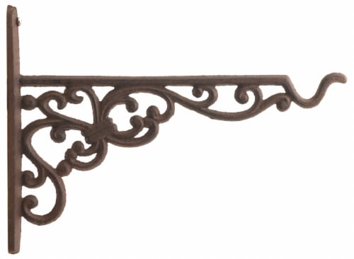 Cast Iron Plant Hanger - Ornate Victorian Pattern - 10 inch Deep Perspective: front
