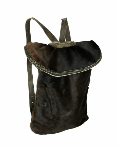 The Durango Genuine Hair-On Hide Leather Trim Backpack Perspective: front