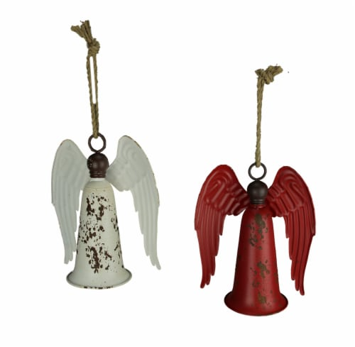 Red and White Vintage Hanging Angel Bells Set of 2 Perspective: front