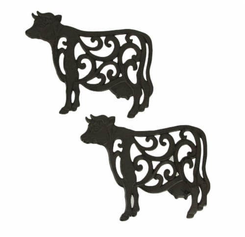 Brown Cast Iron Cow Floral Scroll Trivets Set of 2 Perspective: front