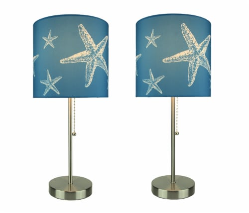 Brushed Nickel Finish Coastal Table Lamp With Blue Starfish Shade Set of 2 Perspective: front