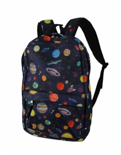Colorful Space Planets and Rocket Ships Backpack Perspective: front