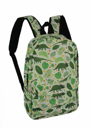 White and Green Dinosaur and Tropical Leaf Backpack Perspective: front
