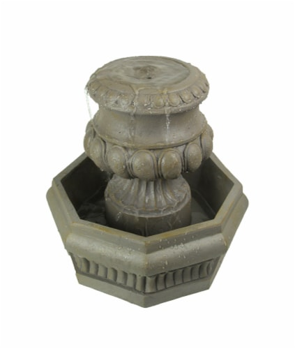 Classic Olive Column Style Tabletop or Garden Fountain With Pump Perspective: front