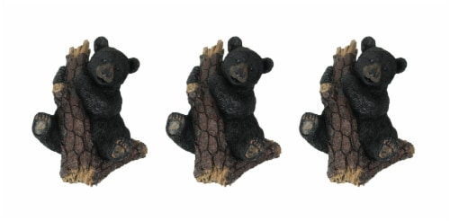 Hand Painted Black Bear in Pine Tree Decorative Wall Hooks Set of 3 Perspective: front