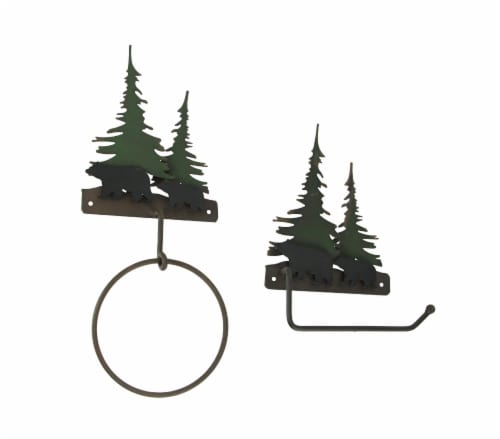 Metal Bear Forest Toilet Paper And Towel Holder Set Bathroom Wall Mounted Decor Perspective: front