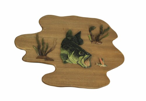 Hand Carved Wood Bass Wall Plaque Fish Home Lodge Decor Art Cabin Decoration Perspective: front