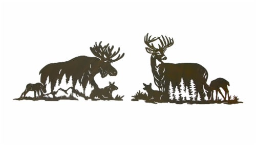 Set of Moose And Deer Family Brown Metal Laser Cut Wall Art Home Lodge Decor Perspective: front