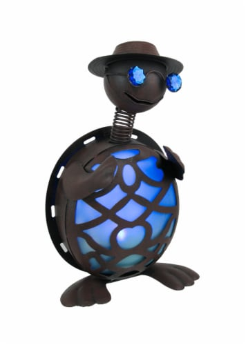 Rustic Metal Turtle in Hat and Sunglasses Solar Powered LED Light Garden Statue - Blue Perspective: front