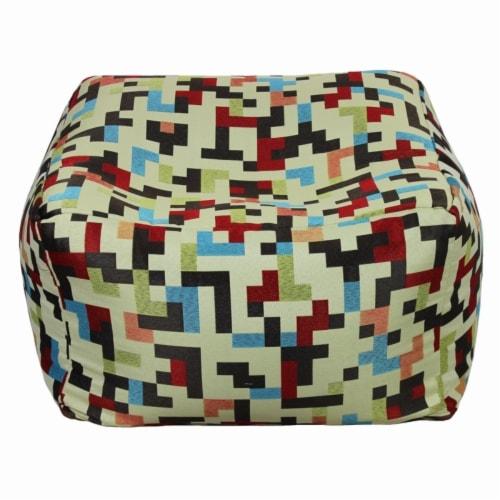 Saltoro Sherpi Fabric Pouf Ottoman,Multicolored Perspective: front