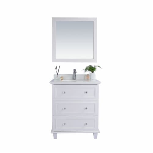 Luna - 30 - White Cabinet + Pure White Phoenix Stone Countertop Perspective: front