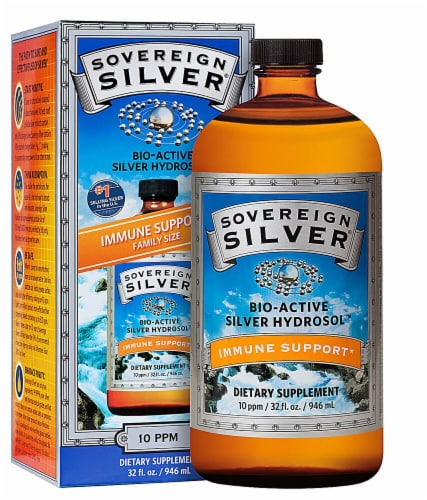 Natural Immunogenics Sovereign Silver Bio-Active Silver Hydrosol Perspective: front