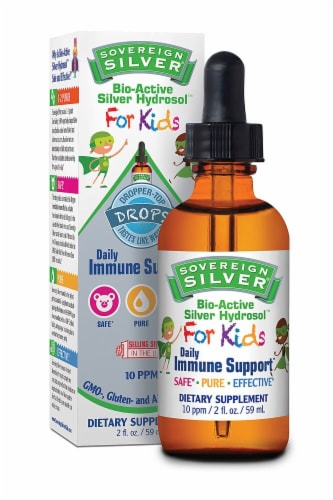 Natural Immunogenics Sovereign Silver Bio-Active Silver Hydrosol™ For Kids Perspective: front
