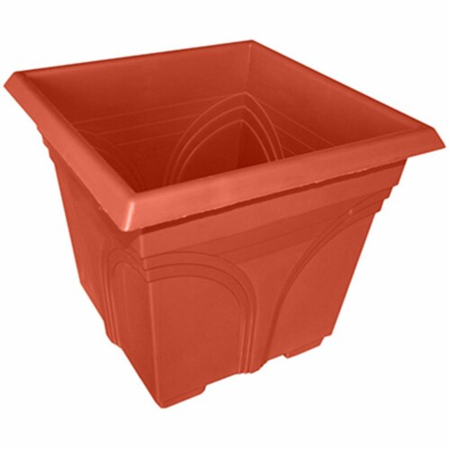 ATT Southern 259807 15 in. Medallion Plastic Deck Planter, Light Terra Cotta Perspective: front