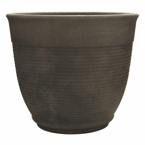 Southern Patio 7802622 12.6 x 14.6 in. Dia. Gray Resin Multi-Ring Planter Perspective: front