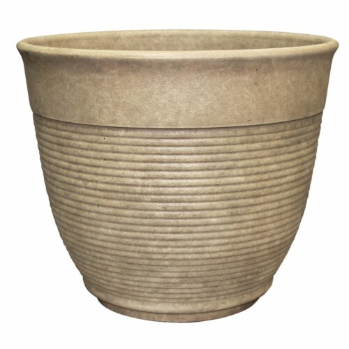 Att Southern Patio 7798986 12.6 x 14.6 in. Dia. Sand Resin Multi-Ring Planter Perspective: front