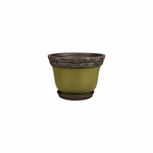 Att Southern 212193 12 in. Jade Reserva Planter Perspective: front