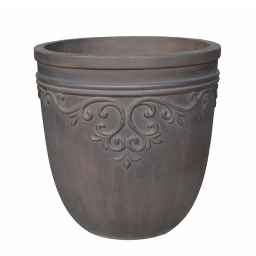 Southern Patio 7507577 14.5 x 14 in. GRC Cement Round Midrise Planter, Brown Perspective: front