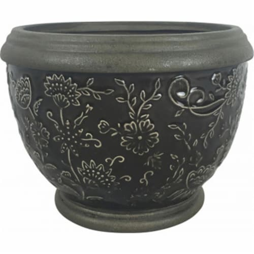 Southern Patio CRM-047056 6 in. Gracie Planter, Deep Gray Perspective: front