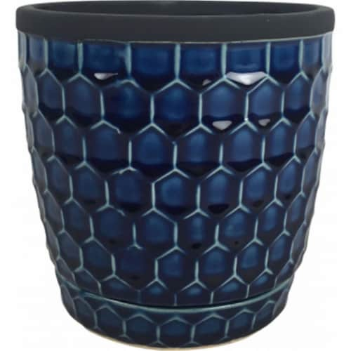 Southern Patio 6 In. Dia. Blue Cobalt Clay Honeycomb Planter Pack of 4 Perspective: front