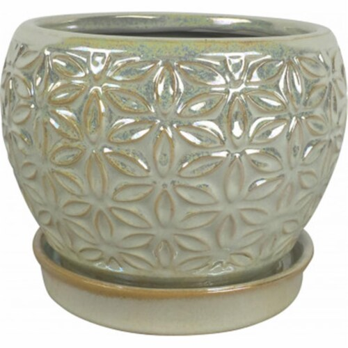 Southern Patio CRM-047100 8 in. Elora Planter, Pearl Perspective: front