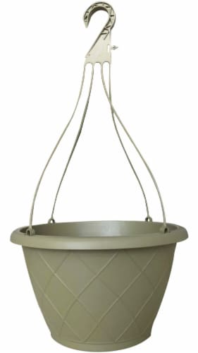 ATT Southern Weave Hanging Basket - Olive Green Perspective: front