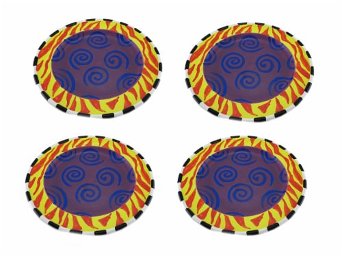 Set of 4 Whimsical Colorful Ceramic Salad / Dessert Plates 9 in. Perspective: front