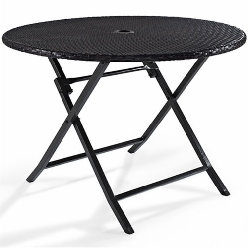 Steel Round Wicker Foldable Patio Dining Table in Brown-Bowery Hill Perspective: front