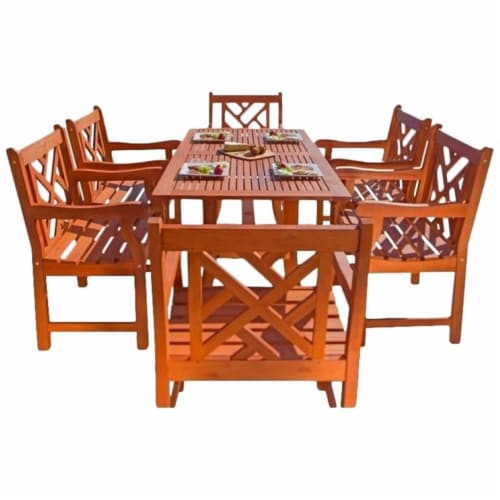 Pemberly Row 7 Piece Patio Dining Set in Oiled Rubbed Perspective: front
